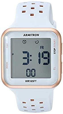 Armitron Sport Unisex 40/8417PBL Digital Chronograph Rose Gold-Tone and Powder Blue Perforated Silicone Strap Watch from Armitron Sport