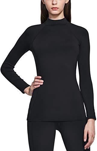 TSLA Women's Thermal Long Sleeve Tops, Mock Turtle & Crew Neck Shirts, Fleece Lined Compression Base Layer, Mock Neck Heatlock Black, Small