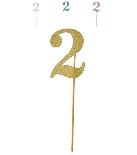Miss Bakery's House® Cake Topper - Purpurina - Grande - Dorado - 2 - decoración de Pasteles - número