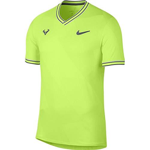 NIKE Rafa Arorct Jacquard Top SS Camiseta, Hombre, Volt Glow/Light Carbon, XS