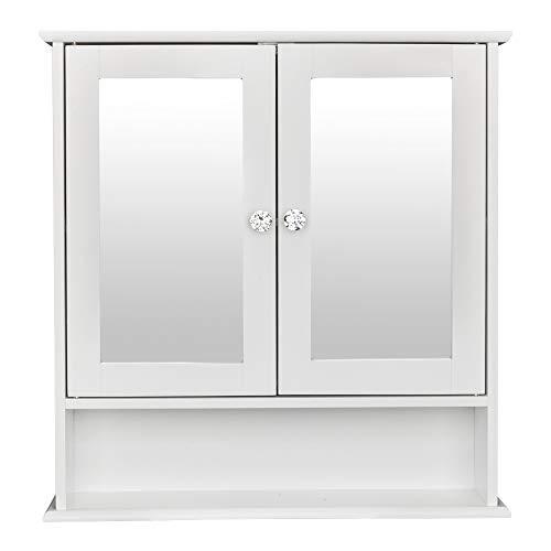Lowest Price! Double Door Mirror Indoor Bathroom Wall Mounted Cabinet Shelf Storage Cabinet Drawer D...