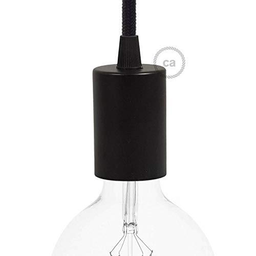 creative cables Kit Douille E27 cylindrique en métal - Conique, Noir