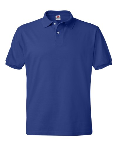 Hanes Men's 5.2 oz Hanes STEDMAN Blended Jersey Polo, L-Deep Royal