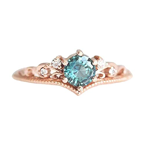 minjiSF Anillo de diamante para mujer, anillo brillante, no se decolora, joya de boda, anillo de compromiso, anillo de recuerdo, (oro, 10)