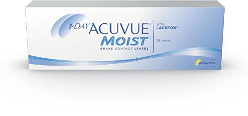 ACUVUE MOIST 1-Day Tageslinsen für empfindliche Augen & Allergiker – Tageskontaktlinsen mit -2 dpt und BC 8.5 – UV Schutz & hoher Tragekomfort – 30 Linsen
