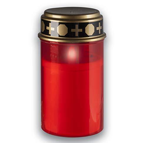 KELOPEST® LED Grablicht rot mit Batterie und 6 Monaten Leuchtdauer - LED Grabkerze mit realistischem Flackereffekt