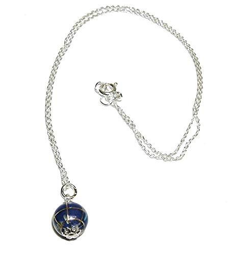 Colgante Bola del Mundo pequeña 1 cm Fondo mar Color Azul lapislázuli y Plata de Ley con Cadena Plata de Ley 40 cm
