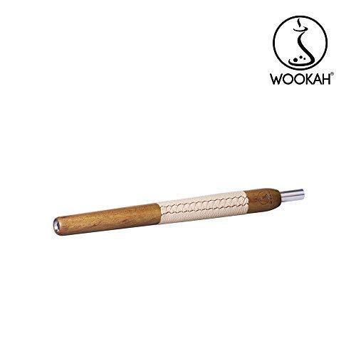 WOOKAH Holzmundstück - Leder IROKO, beige (Hookah, Shisha, Wasserpfeife)