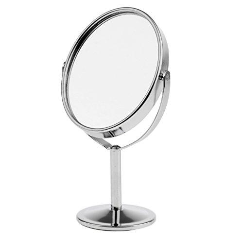 """MagiDeal 3"""" Cosmétique Miroir sur Pied Rotatif à 360 Degrés - Miroir à Double Face Normal et Grossissant pour Maquillage - Argent"""