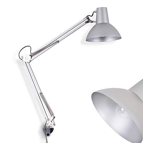 Lampada da scrivania Rodez in metallo grigio - Luce da tavolo per lavoro e studio - È inluso un interruttore di accensione dietro lo spot - Lampada regolabile grazie alle articolazioni flessibili.
