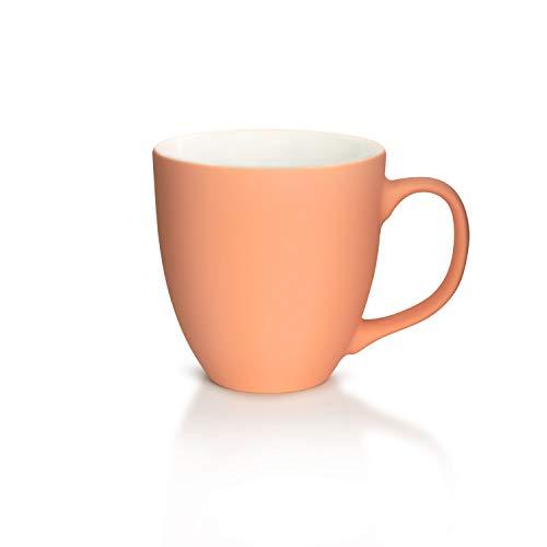 Mahlwerck XXL Jumbotasse, Große Porzellan Kaffeetasse mit matter Soft-Touch Oberfläche, Soft Rot-Orange, 450ml
