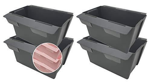 Pilix Paletten Blumenkasten Europalette 4er mit patentiertem Stecksystem   18 cm 4 Stück Anthrazit   Pflanzkasten Europalette Kunststoff   Einsätze für Europaletten Blumenkästen Europalette