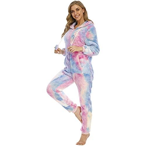 BIBOKAOKE Damen Jumpsuit Tie Dye Teddy Fleece Einteiler Overall Anzug Flauschig Schlafanzug Plüsch Pyjama Mit Kapuzen und Reißverschluss Strampler Nachtwäsche Loungewear Hausanzug