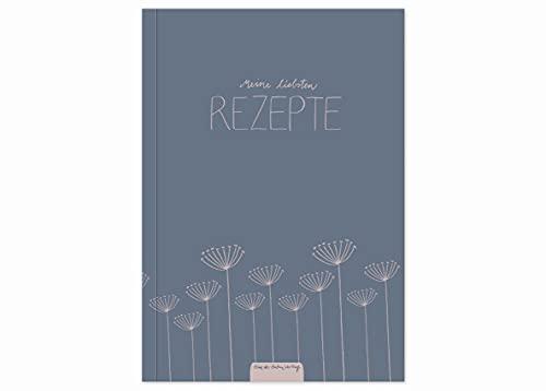 Rezeptbuch A5 zum Selberschreiben - Meine liebsten Rezepte - DIY Kochbuch, Backbuch schreiben, Blau Rosa Blumen Design, Recyclingpapier, Softcover, 14,8 x 21 cm