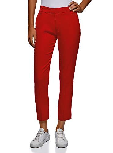 oodji Collection Mujer Pantalones de Lino Recortados