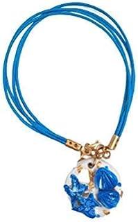 Bracciale con Conchiglie e Stelle Marine, Bracciale Cordoncino Donna, Filo di Cotone cerato Azzurro, Ciondolo Ceramica Art...