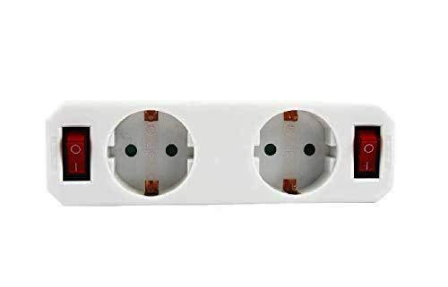 Adaptador 2 tomas con 2 interruptores,distribuidor de 2 tomas con interruptores,ladron con interruptor.