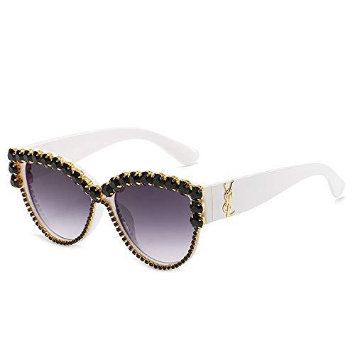 QINGZHOU Sonnenbrillen,Cat Eye Sonnenbrille Personalisierte Diamant Brille Netz Rot Gleichen Wilden Diamanten, Schwarzen Diamanten
