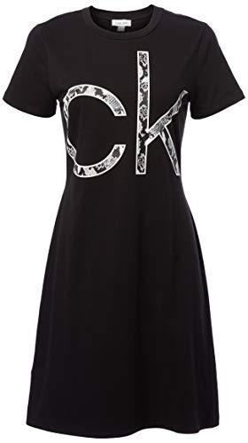 Calvin Klein Damen Short Sleeve Logo T-Shirt Dress Kleid, schwarz, Groß