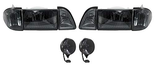 Blue Oval Industries 1987-1993 Mustang GT Euro Smoked Headlights with Amber Sides and Fog Lights