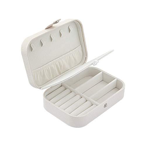 CMJL Scatole Portagioie, Piccolo Portagioie da Viaggio da Donna Organizzatore da Gioielleria per Anelli Orecchini Collane Bracciali, 16,5 x 11,5 x 5,5 cm (White)