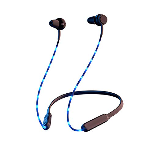 DAHAKII Led Wireless Neckband Headphones Bluetooth Neckband Headset with Magnetic Earbuds Flexible Sports Wireless Earbuds for Running HD Stereo Noise Cancelling Earphones (Blue)