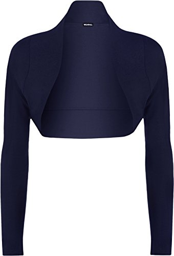 Damen-Bolero-Strickjacke, langärmelig, Größe 36-42 (XL 44-46), Marineblau