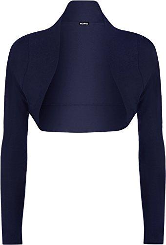 WearAll - Damen Bolero Langarm Top - Marineblau - 36-38