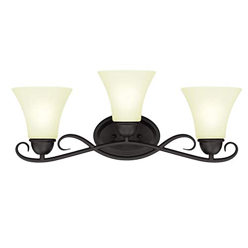 Westinghouse Lighting, Oil Rubbed Bronze 6306900 Dunmore Three-Light Indoor Wall Fixture, Finish with Frosted Glass