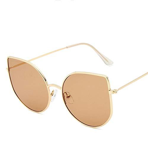 Gafas De Sol Polarizadas Gafas De Sol De Ojo De Gato para Mujer, Diseñador De Marca De Moda Sexi, Gafas Retro para Hombre, Montura Metálica, Gafas De Sol para Mujer, Goldtea