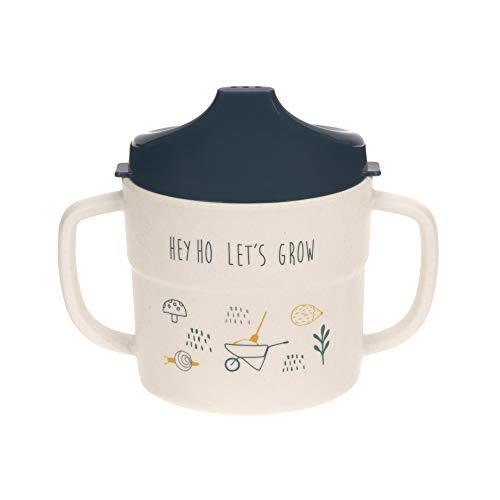 LÄSSIG Trinklernbecher Kinder Tasse mit Henkel und Deckel nachhaltig 150ml/Garden Explorer boys