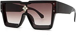 NBJSL Gafas de sol decorativas de diamantes de imitación cuadrados de moda para hombres y mujeres, gafas de sol protectoras Retro Uv, embalaje de regalo exquisito