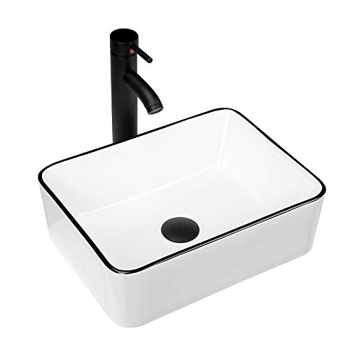 KSWIN Ceramic Rectangular Bathroom Vessel Sink, White Body with Black Trim on The Top, Above Counter Vanity Sink with Faucet Combo, 16'' x 12''