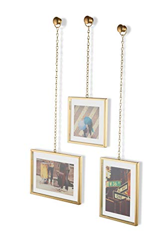 Umbra Fotochain 4x4 and 4x6 Picture Frame and Wall Decor Set for Photos, 16 x 20, Brass