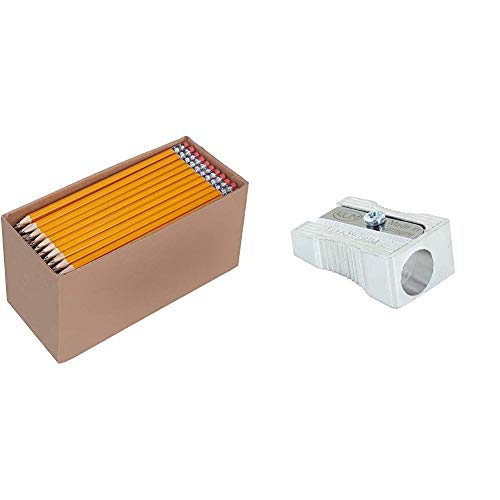 AmazonBasics - Holzgefasste Bleistifte, HB, vorgespitzt, 150er-Pack & KUM AZ104.01.19-M Bleistiftspitzer 400 1K aus Magnesium, Keilform, 1 Stück, silber