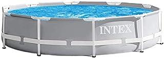 "Intex Enjoy Summers Pool Set + Filter Pump, 12' x 30"", Round Metal Frame Backyard Above Ground Swimming Pool Light Gray - ..."