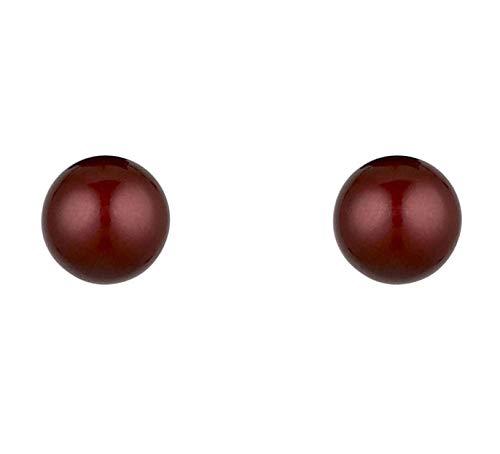 Córdoba Jewels | Pendiente en plata de Ley 925 con perla diseño Mini Perla Swarovski Burdeos