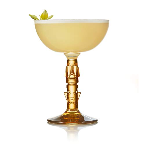 Libbey, Set of 4 Cocktail Glasses, Tiki Amber Stem Coupe (8.5 oz)