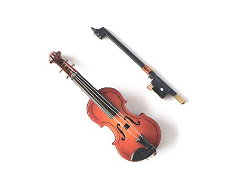 Violin Miniature 1/12th Scale Musical Instrument in Black Vinyl Case with Metal Clasp