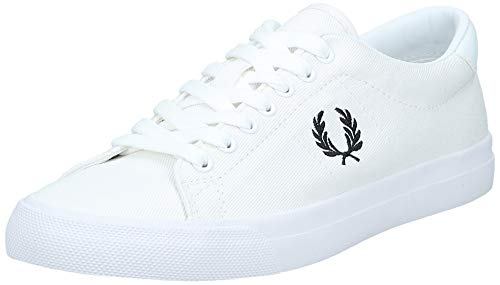 Fred Perry Men's Underspin Twill Sneaker, White, 7 D UK (8 US)
