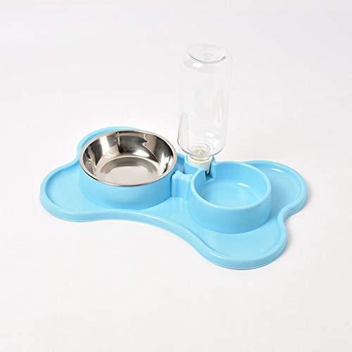 Maomaogou Huisdier Drinkwater Fontein Automatische Huisdier Feeder Hond/Voedsel En Water Dispenser -ABS Roestvrij Staal -Dubbele Bowl-Water Vaatwasser (520ml) (roze, Blauw, Groen), Blauw
