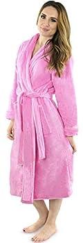 NY Threads Womens Fleece Bathrobe - Shawl Collar Soft Plush Robe Spa Robe Medium Pink