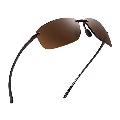 JIM HALO Sport Sonnenbrille für Damen Herren TR90 Randlos Unzerbrechlich Rahmen für Laufen Angeln Baseball Fahren Braun
