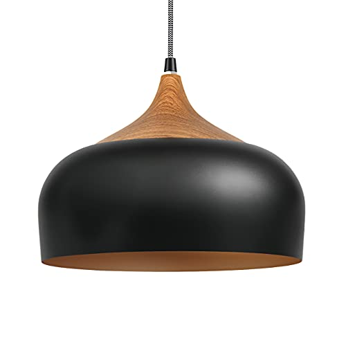 Tomons Pendant Light Modern Lantern Lighting with LED Bulb, Wood Pattern Dome Minimalist Industrial Ceiling Hanging Lamp for Kitchen Island, Barn, Dining Room, Living Room, Bedroom - Black