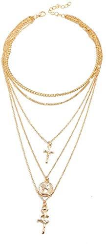 CAISHENY Collar Vintage Flor Rosa Cruz Colgante Collar para Mujer Gargantilla Multicapa Oro Collares Largos joyería Boho