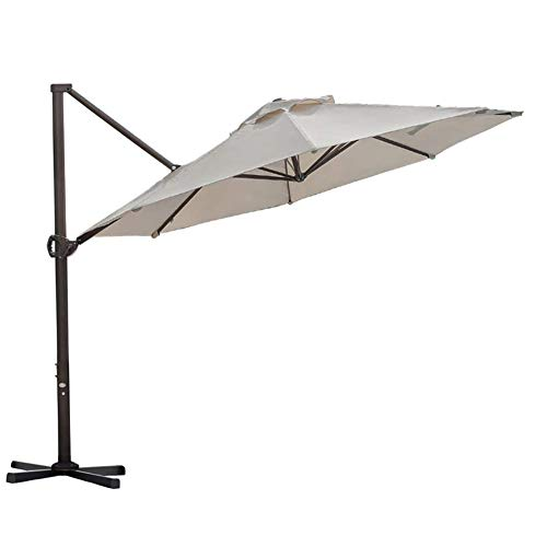 Abba Patio 11ft Patio Offset Hanging Umbrella Outdoor Cantilever Sturdy Umbrella with Crank & Cross Base & Easy Tilt, for Garden, Backyard, Pool and Deck, Khaki