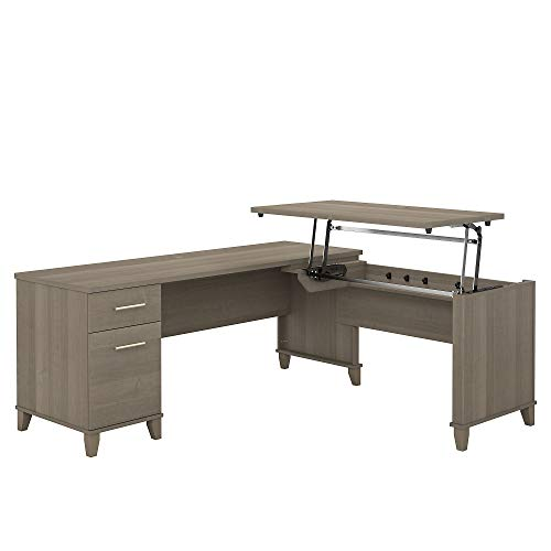 Bush Furniture Somerset 3 Position Sit to Stand L Shaped Desk, 72W, Ash Gray