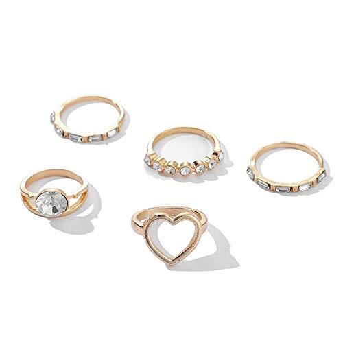 Heaven2017 5 peças de strass incrustado coração oco aliança fina anel de dedo feminino joia presente dourado
