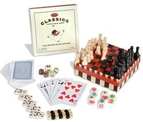 Old Century Classics Coffee Table Games  Six-in-One Mini Game Set by Front Porch Classics
