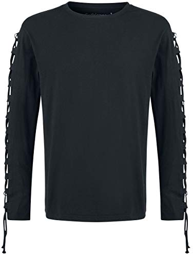 Gothicana by EMP Cut The Cord Homme T-Shirt Manches Longues Noir M, 100% Coton, Regular/Coupe Standard